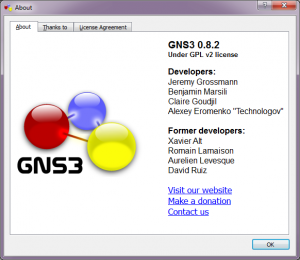 GNS3 About Box