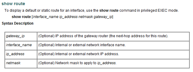 Show Route Command