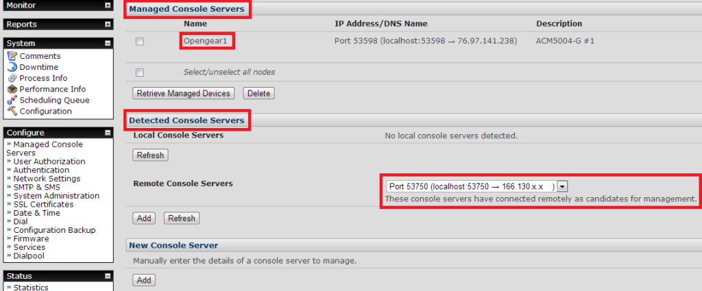 Detected Remote Console Server