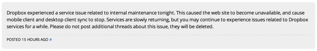 Dropbox Forum Post