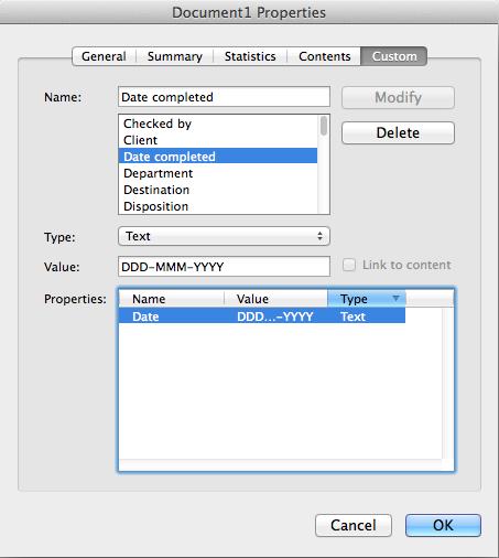 Custom Properties - Date Selected
