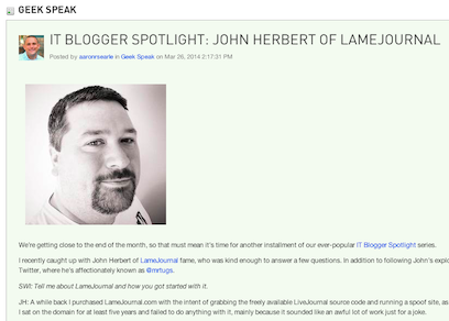 Thwack IT Blogger Spotlight Article
