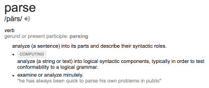 Parsing Definition (Source: google.com)