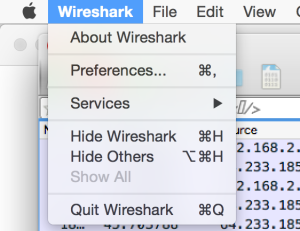 Wireshark Menu