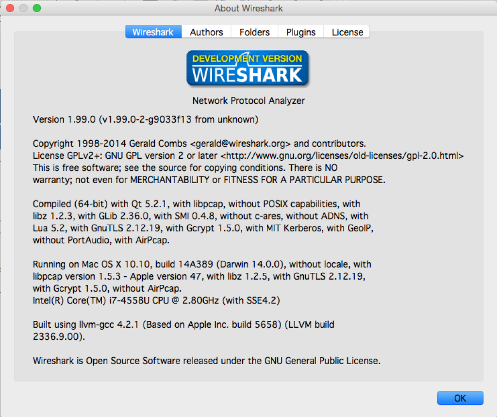 Wireshark About Screen