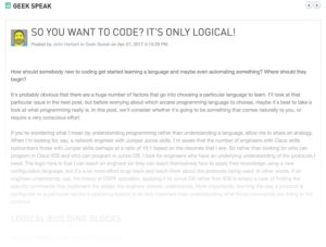 So You Want To Code? It's Only Logical (Solarwinds Thwack)