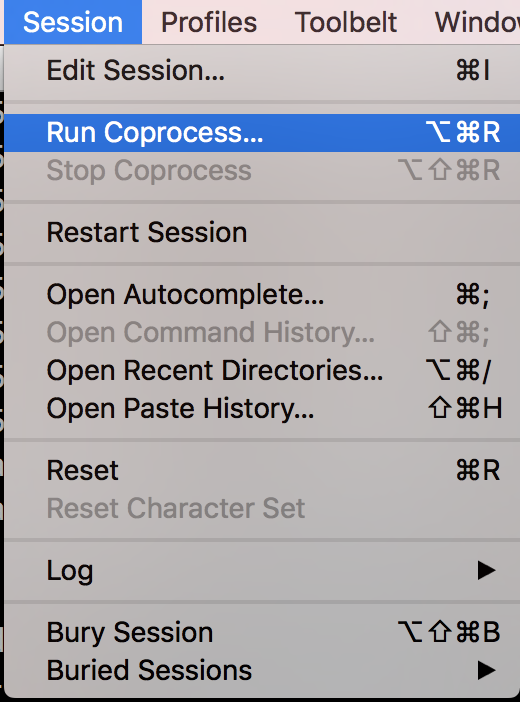 Iterm Run Coprocess Menu Option