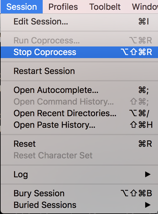 Iterm - Stop Coprocess