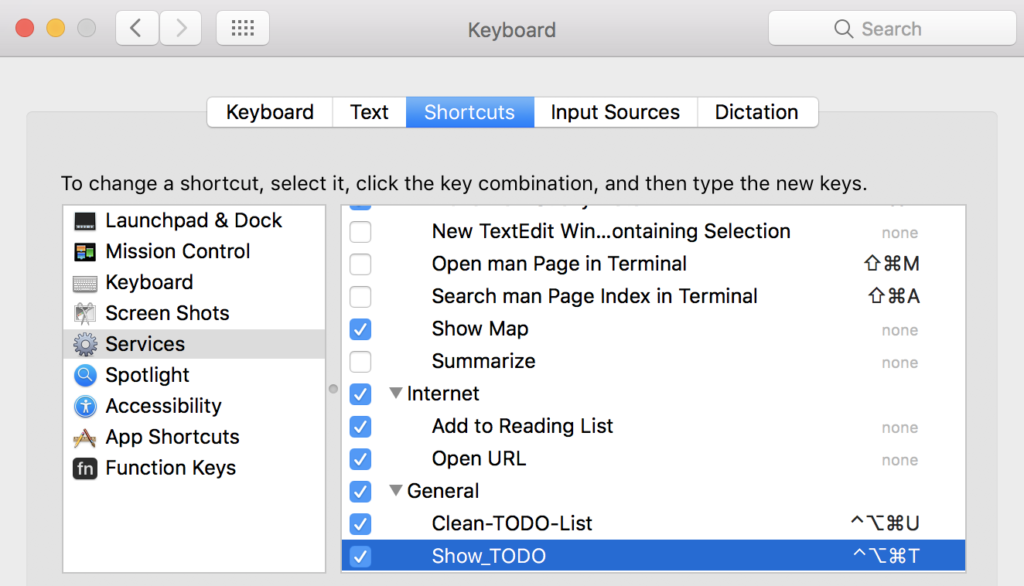 MacOS Keyboard System Preferences