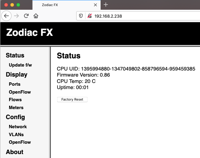 Northbound Networks Zodiac FX Web Interface