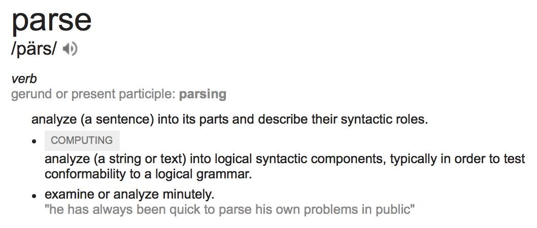 Parsing Definition (Source: google.com)