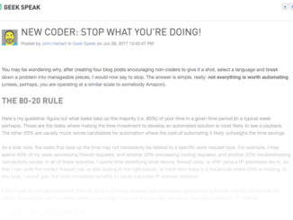 New Coder: Stop What You're Doing!