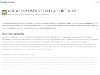 Not Your Mama's Security Architecture